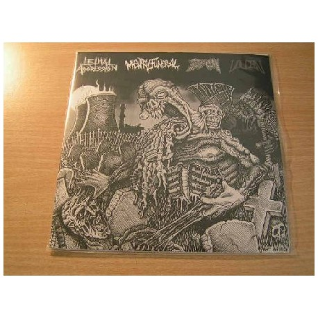 """LETHAL AGGRESSION/MENTAL FUNERAL/BSOM/VULCAN split 7""""EP"""